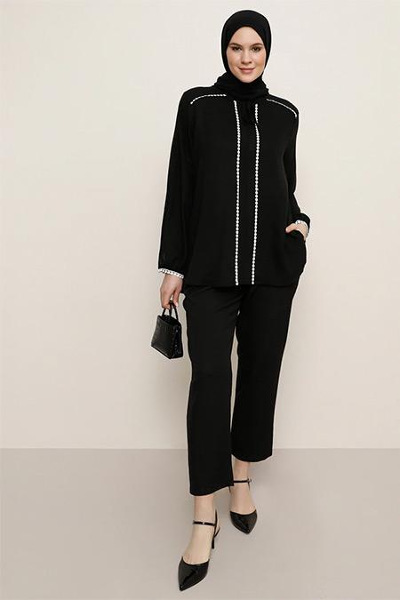 Alia Siyah Güpür Detaylı Bluz