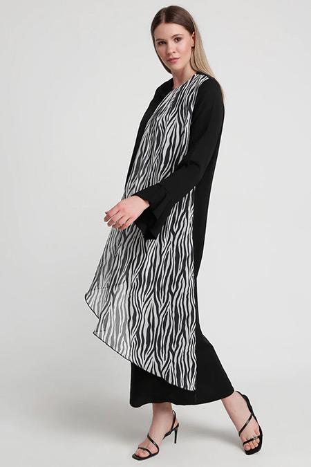 Alia Siyah Garnili Elbise