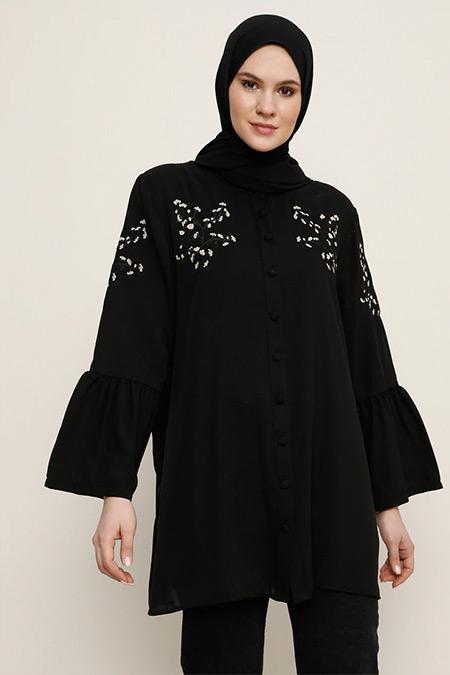 Alia Siyah Nakış Detaylı Tunik