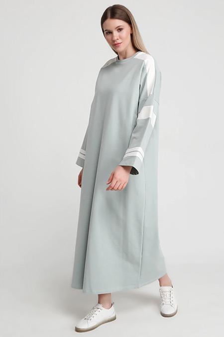 Alia Su Yeşili Doğal Kumaşlı Garnili Elbise