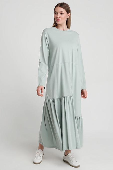 Alia Su Yeşili Doğal Kumaşlı Volan Detaylı Elbise