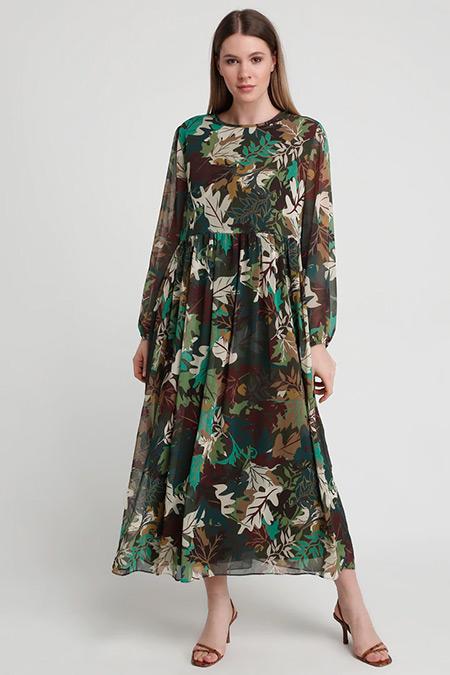 Alia Yeşil Desenli Elbise