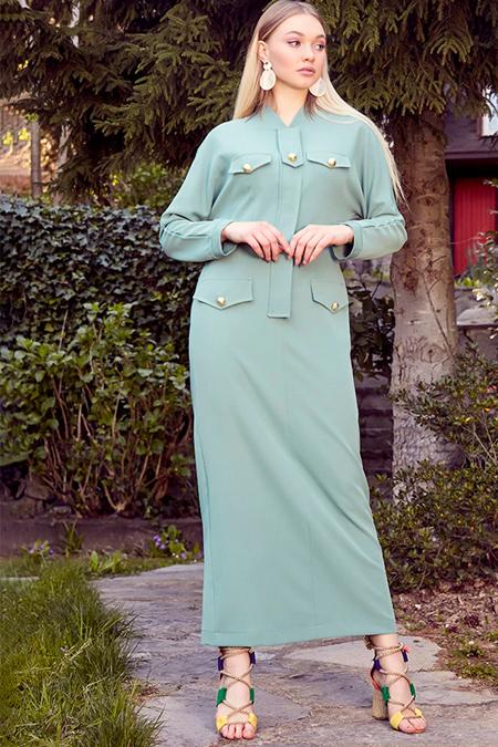 Ayşen Özen Mint Düğme Süslü Elbise