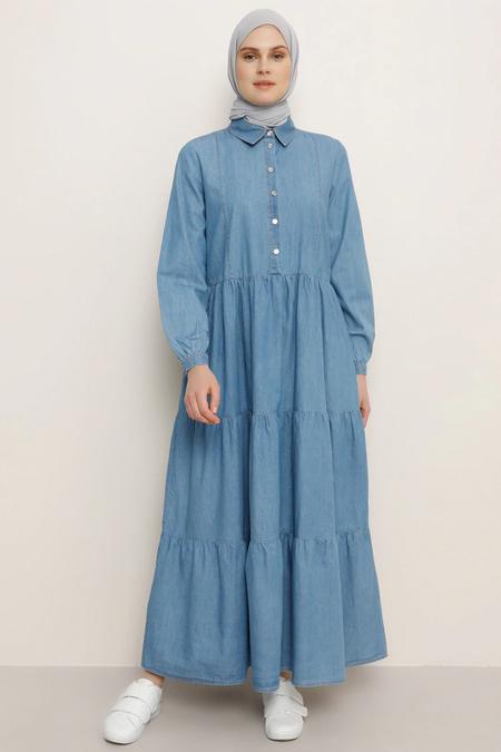 Benin Açık Mavi Volanlı Kot Elbise