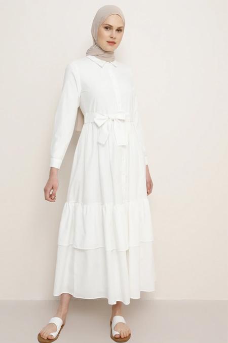 Benin Beyaz Boydan Düğmeli Elbise