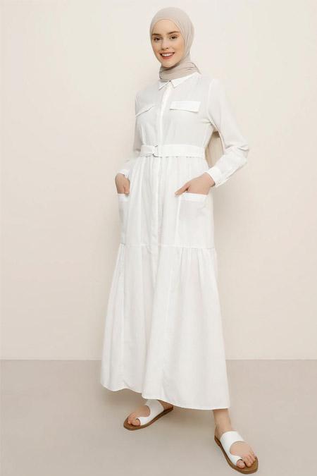 Benin Beyaz Boydan Gizli Düğmeli Cepli Elbise