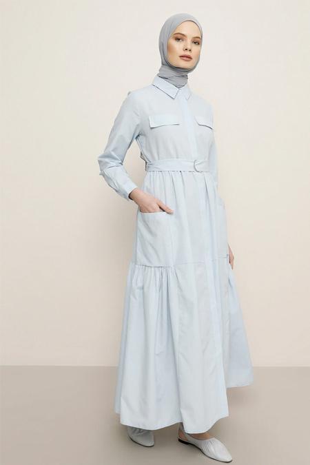 Benin Buz Mavisi Boydan Gizli Düğmeli Cepli Elbise