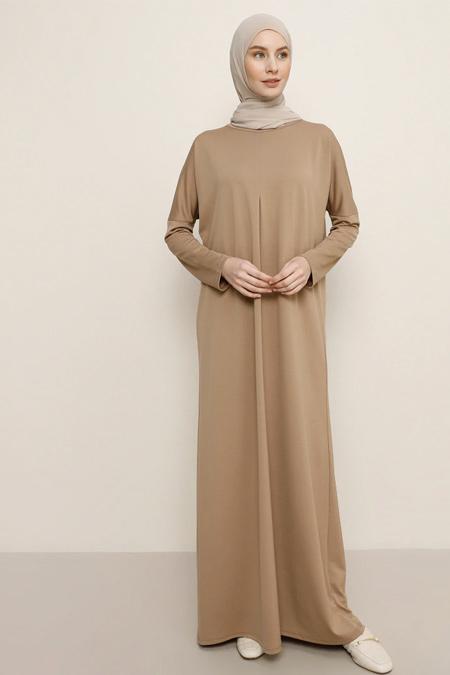 Benin Camel Yarasa Kollu Elbise