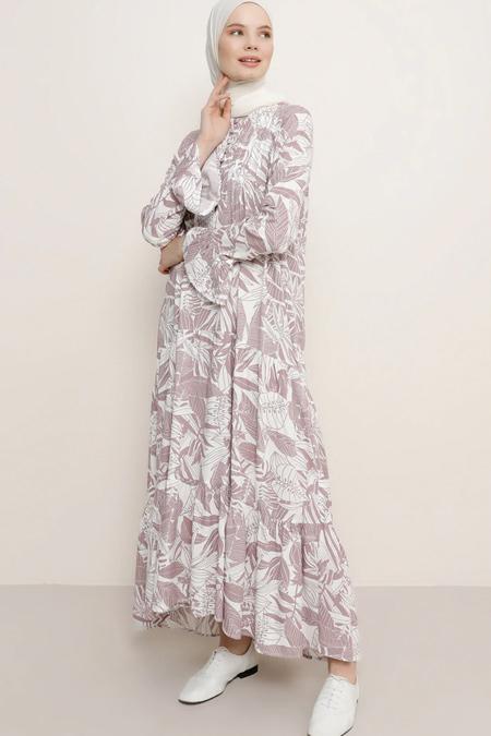 Benin Derin Pembe Volan Detaylı Brit Düğmeli Elbise