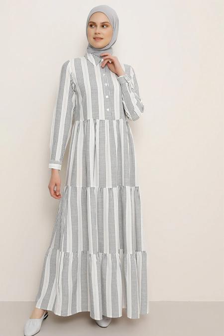 Benin Lacivert Doğal Kumaşlı Çizgili Elbise