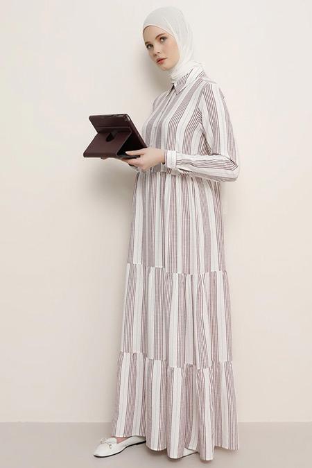 Benin Mürdüm Doğal Kumaşlı Çizgili Elbise