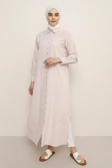 Benin Pudra Boydan Düğmeli Elbise