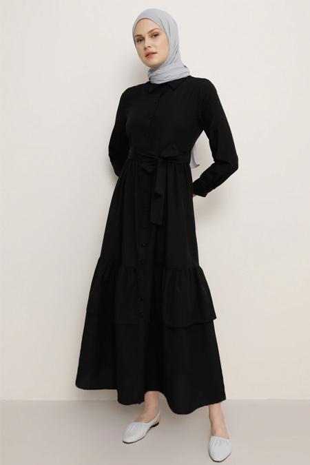 Benin Siyah Boydan Düğmeli Elbise