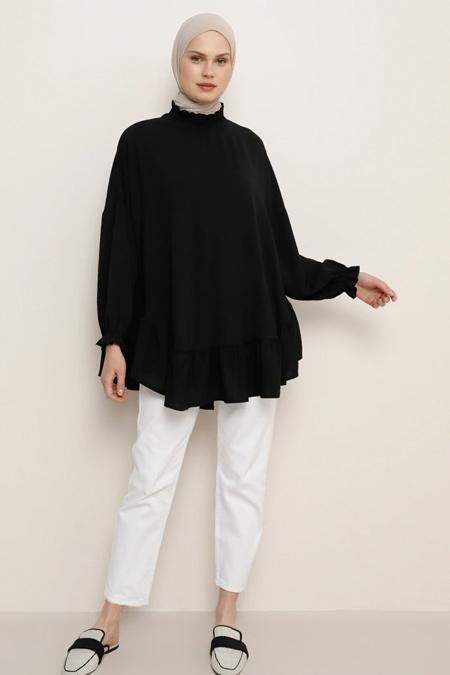Benin Siyah Kol Detaylı Bluz