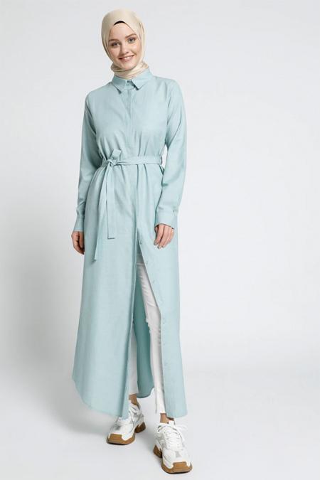 Everyday Basic Açık Mint Doğal Kumaşlı Gizli Düğmeli Elbise