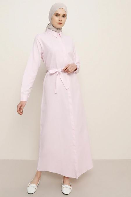 Everyday Basic Açık Pembe Doğal Kumaşlı Gizli Düğmeli Elbise