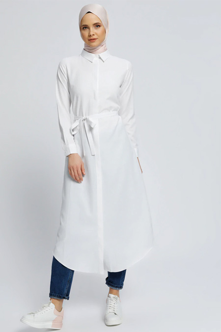 Everyday Basic Beyaz Gizli Düğmeli Uzun Gömlek Elbise