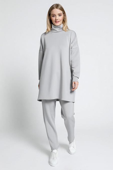 Everyday Basic Gri Scuba Kumaşlı Tunik&Pantolon İkili Takım