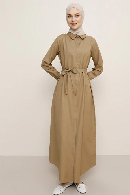 Everyday Basic Koyu Vizon Doğal Kumaşlı Gizli Düğmeli Elbise