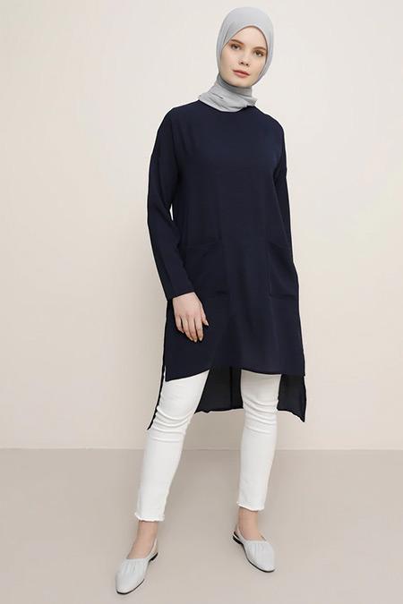 Everyday Basic Lacivert Cep Detaylı Tunik