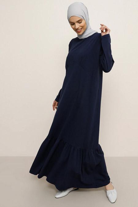 Everyday Basic Lacivert Doğal Kumaşlı Basic Elbise