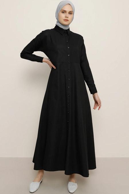 Everyday Basic Siyah Boydan Düğmeli Elbise