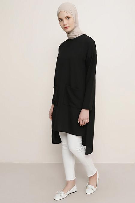 Everyday Basic Siyah Cep Detaylı Tunik