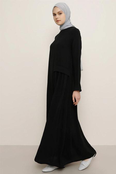 Everyday Basic Siyah Cep Detaylı Elbise