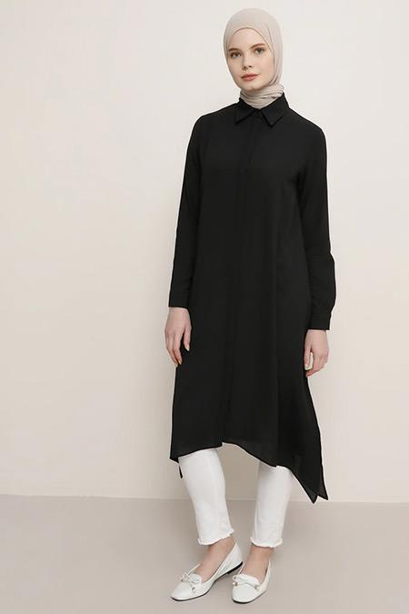 Everyday Basic Siyah Gizli Düğmeli Tunik