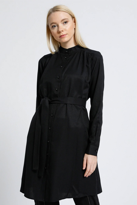 Everyday Basic Siyah Kuşak Detaylı Düğmeli Tunik