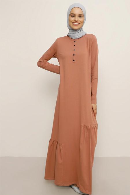Everyday Basic Tarçın Doğal Kumaşlı Elbise