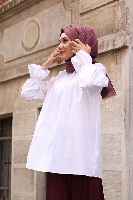 Gizce Beyaz Carleen Gömlek