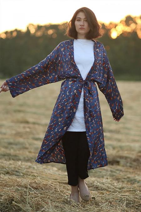 Gizce Lacivert Tach Kimono