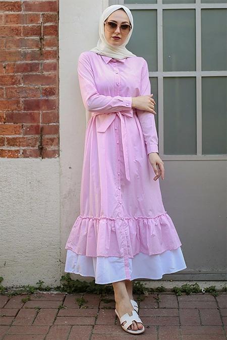 Gizce Pembe Quartz Elbise