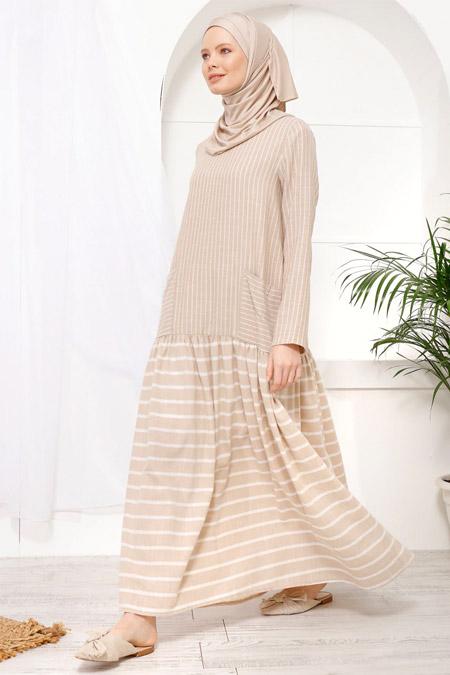 İnşirah Bej Çizgi Desenli Elbise
