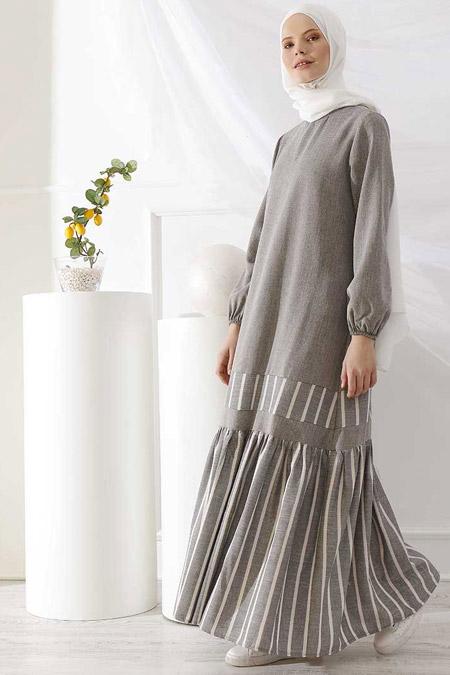 İnşirah Gri Çizgili Elbise