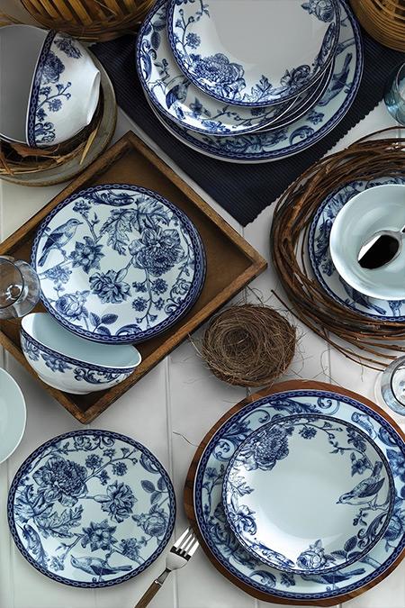 Kütahya Porselen Mavi Beyaz Desen 24 Parça Yemek Seti