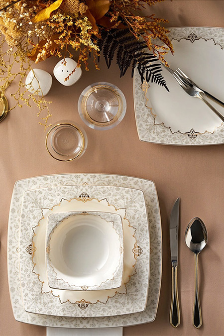 Karaca Gold Kare Mühür Cream 60 Parça 12 Kişilik Yemek Takımı