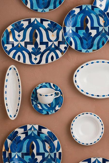 Karaca Mavi 62 Parça 12 Kişilik İnci Yemek Takımı