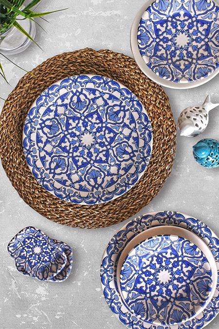 Keramika Mavi Beyaz Osmanlı 24 Parça 6 Kişilik Yemek Takımı