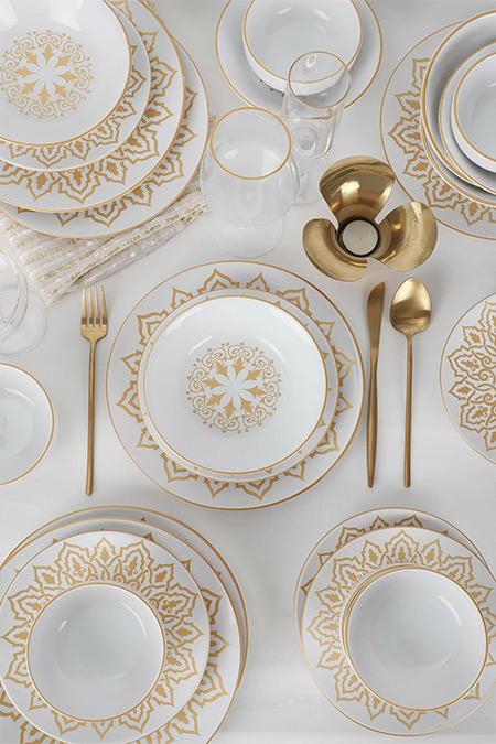 Keramika Beyaz 24 Parça 6 Kişilik Ege Topkapı Yemek Takımı