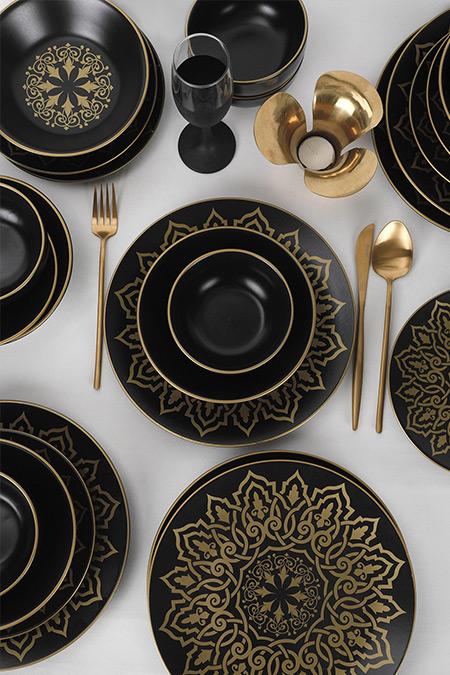 Keramika Mat Siyah 24 Parça 6 Kişilik Ege Topkapı Yemek Takımı