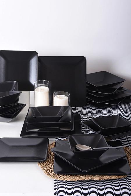 Keramika Mat Siyah Kare 24 Parça 6 Kişilik Plaza Yemek Takımı