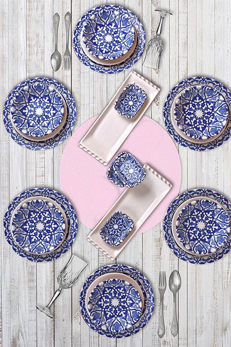 Keramika Mavi Beyaz 24 Parça 6 Kişilik Kera Art Osmanlı Yemek Takımı