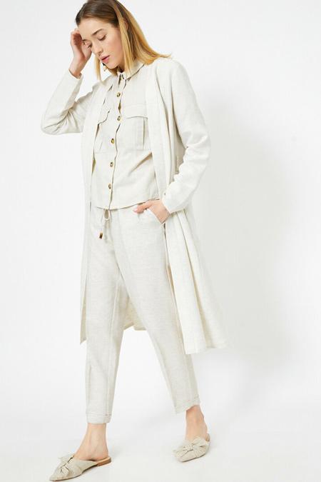 Koton Bej Bağcık Detaylı Keten Karışımlı Pantolon