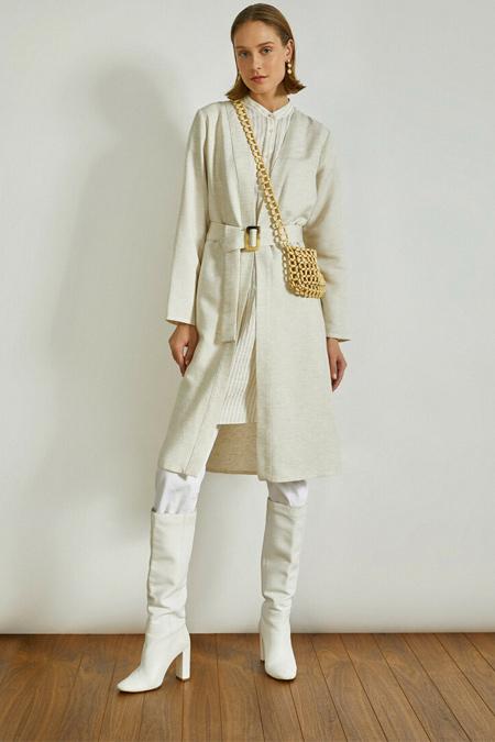 Koton Bej Kemer Detaylı V Yaka Uzun Kollu Kimono