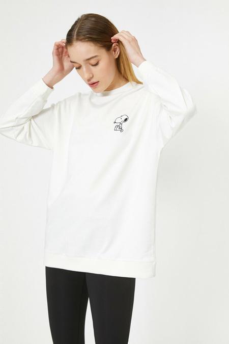 Koton Ekru Snoopy Baskılı Lisanslı Uzun Sweatshirt