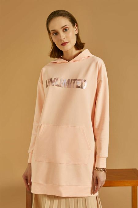 Koton Gül Kapüşonlu Yazılı Baskılı Uzun Kollu Sweatshirt