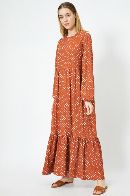 Koton Puantiyeli Bisiklet Yaka Uzun Kollu Maxi Elbise