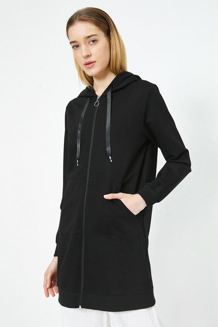 Koton Siyah Kapüşonlu Fermuar Detaylı Uzun Sweatshirt